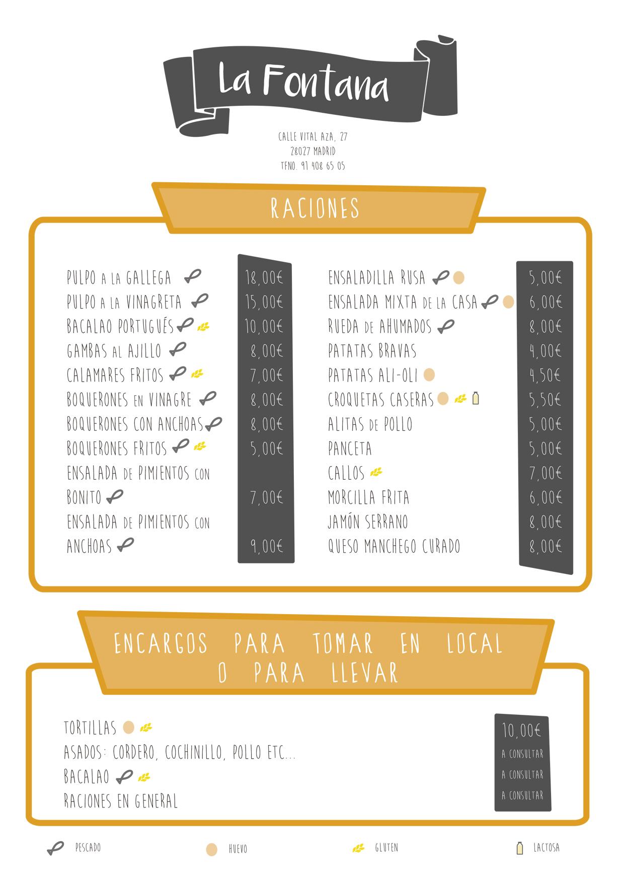 Diseño gráfico para menú bar La Fontana